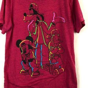 Disney Mickey Mouse Donald Goofy Tshirt Red M